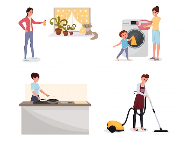 Family doing housework flat set. Premium Vector