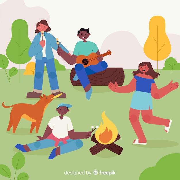 Family doing outdoor activities Free Vector