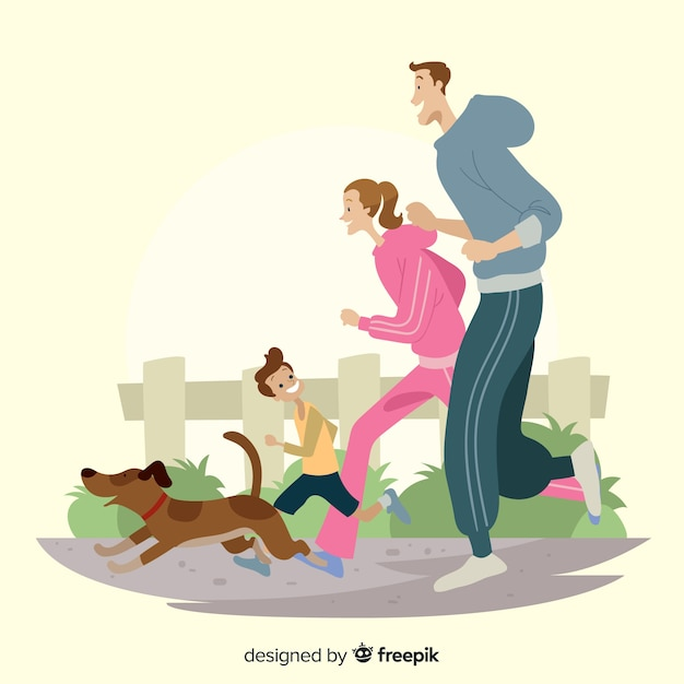 Family doing outdoor activities Free Vector