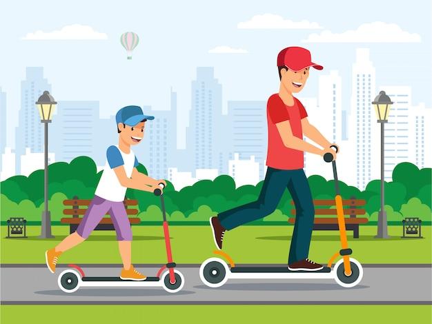 Family doing sport Premium Vector