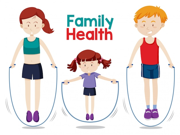 Family doing workout together Free Vector