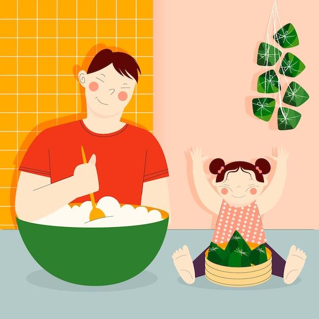 家族の食事とゾンジの準備 無料ベクター
