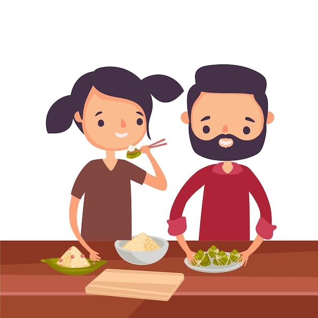 Семья ест тему zongzi Бесплатные векторы