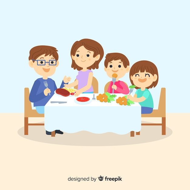 Family eating Free Vector
