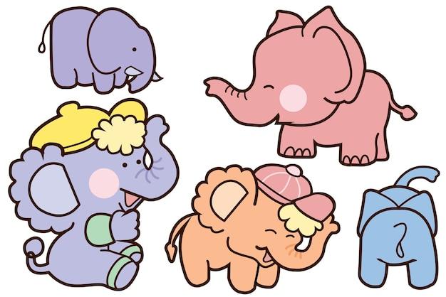 Family elephant cartoon illustration vector design. Premium Vector