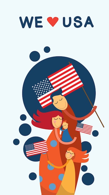 Family embrace united states of america independence day Premium Vector