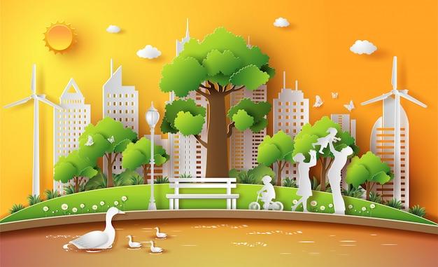 Family enjoy activities outdoor with eco concept. Premium Vector