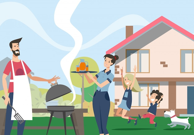 Family enjoying barbecue in backyard Free Vector