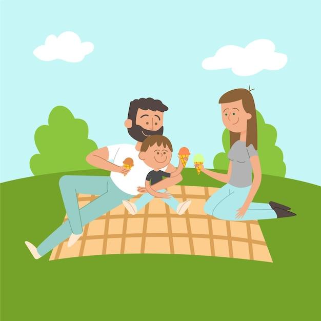 피크닉에서 함께 시간을 즐기는 가족 무료 벡터