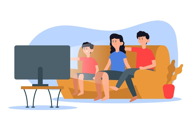 Family enjoying time together by watching tv Free Vector