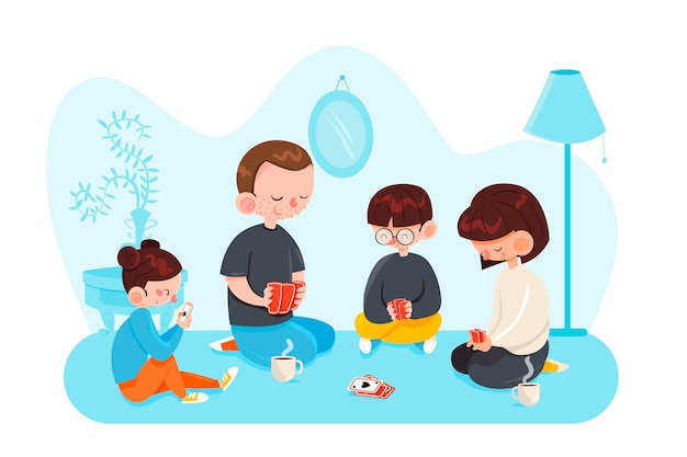 Family enjoying time together concept Free Vector