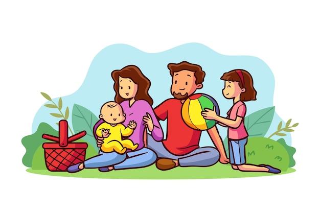 Семья, наслаждаясь время вместе на открытом воздухе Бесплатные векторы