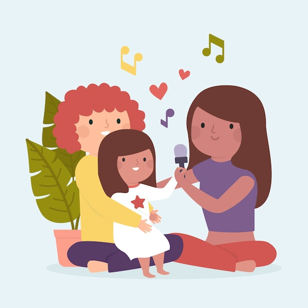 Family enjoying time together singing Free Vector