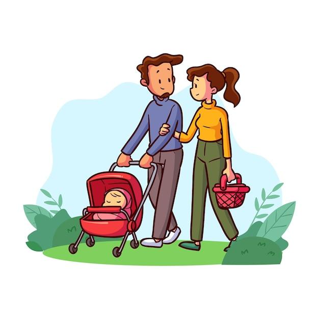 Семья наслаждается временем вместе Бесплатные векторы
