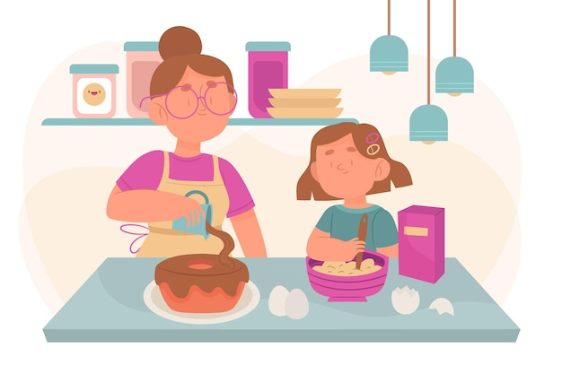 Family enjoying time together Free Vector
