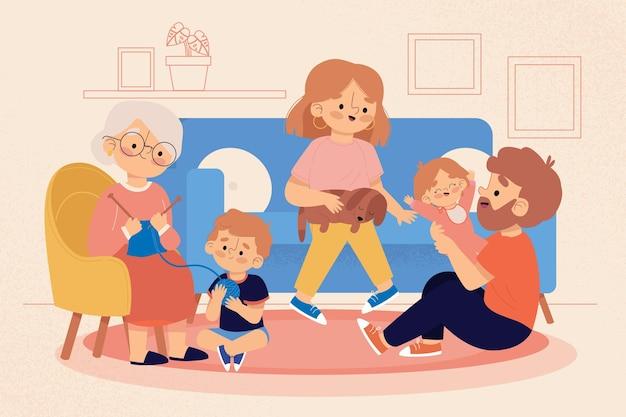 함께 시간을 즐기는 가족 무료 벡터