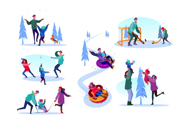 Family enjoying winter activities set Free Vector