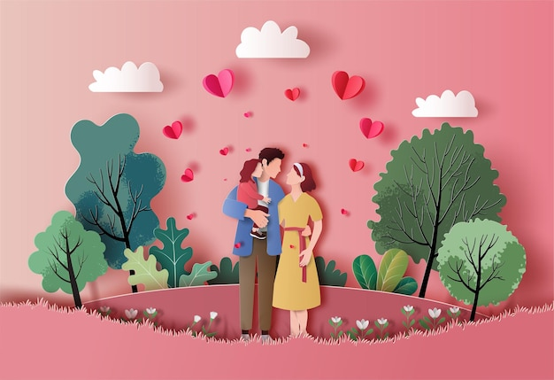 A family enjoys fresh air in the park in paper illustration Premium Vector