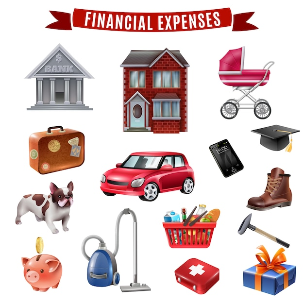 Family expenses flat icons collection Free Vector