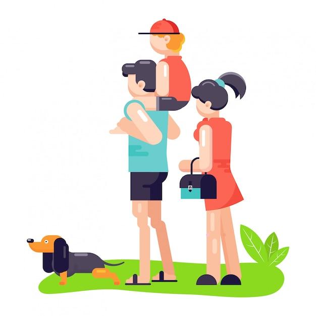 Семья отца, мать и сын играют с лучшим другом питомца собак или щенков. Premium векторы