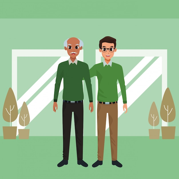 Family father with adult son cartoon Free Vector