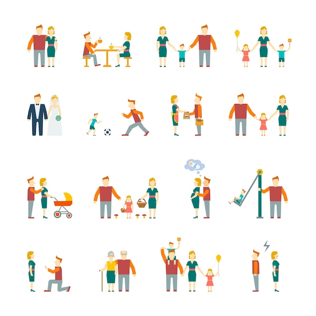 Family figures flat icons set of parents children married couple isolated vector illustration Free Vector