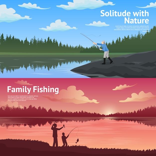 Family fishing horizontal banners set Free Vector