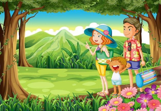 A family at the forest Free Vector