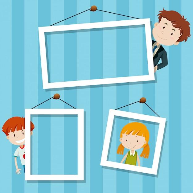 Family frame background scene Free Vector