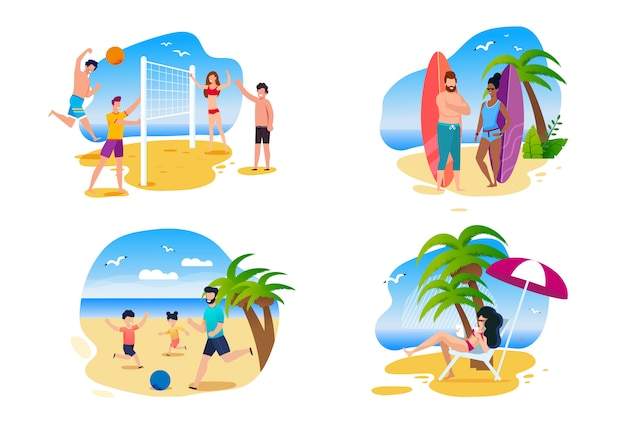 Family and friends summer activities on beach Premium Vector