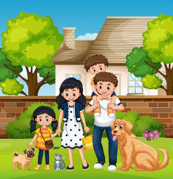 Family in front of the house Free Vector