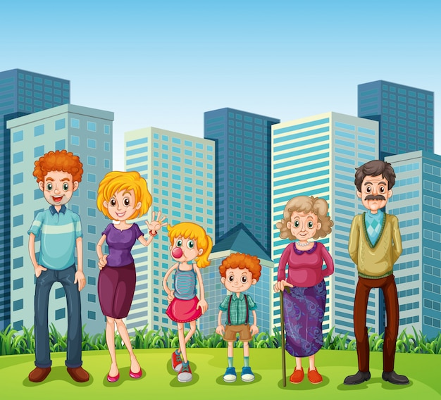 A family in front of the tall buildings in the city Free Vector