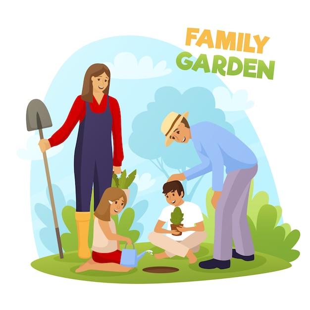 Family garden illustration Free Vector