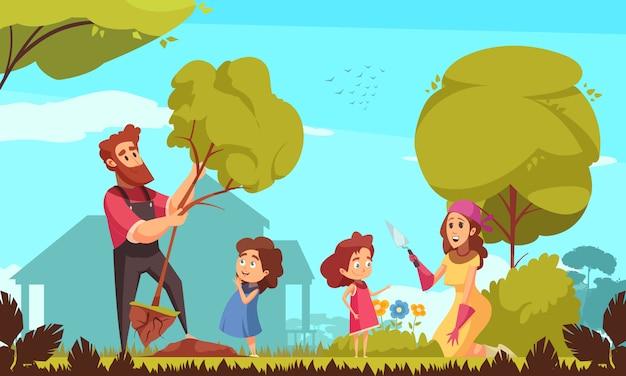 植樹と青色の背景に花の世話中に子供と家族の園芸親 無料ベクター