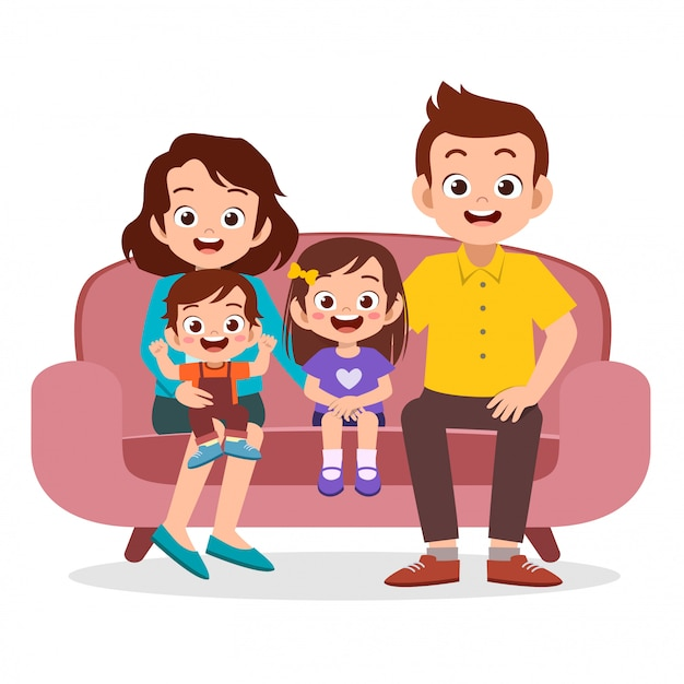 Family gathering together Premium Vector