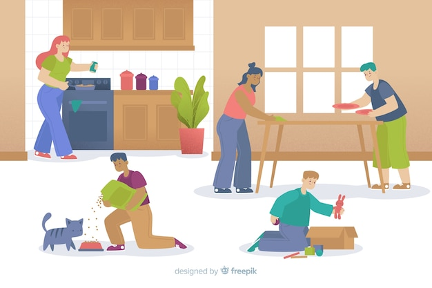 Family generations doing housework Free Vector