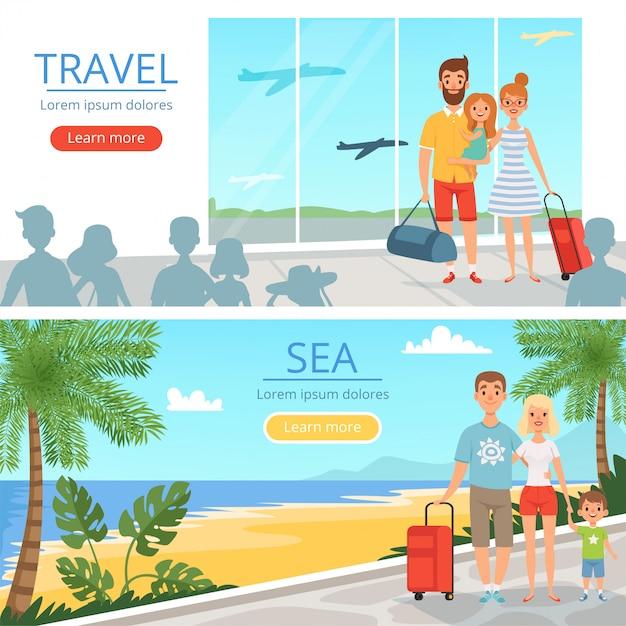 Семья уходит на каникулы. народы в аэропорту. векторные баннеры иллюстраций концепции путешествия Premium векторы