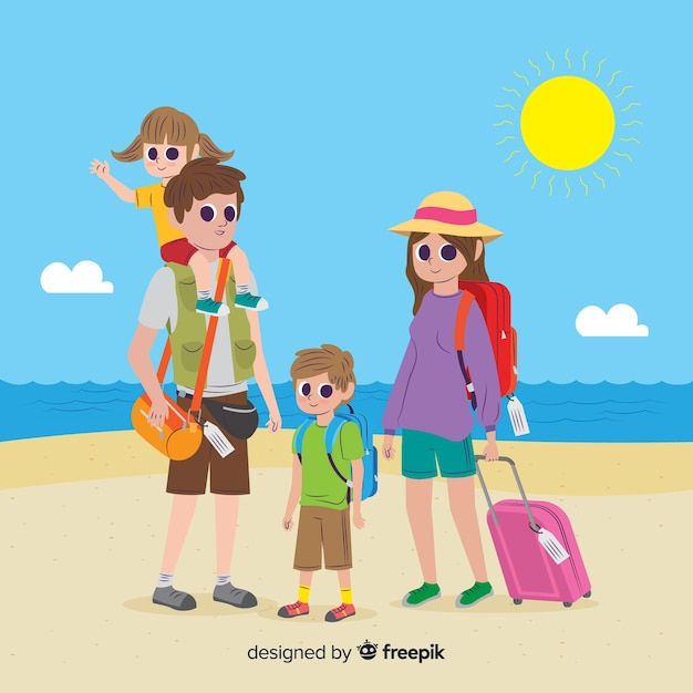 Family going on a trip Free Vector
