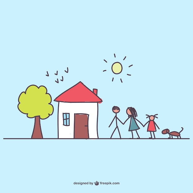 Family going for a walk with the dog Free Vector