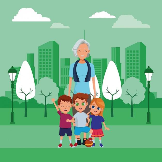 Family grandmother with grandchildren cartoon Free Vector