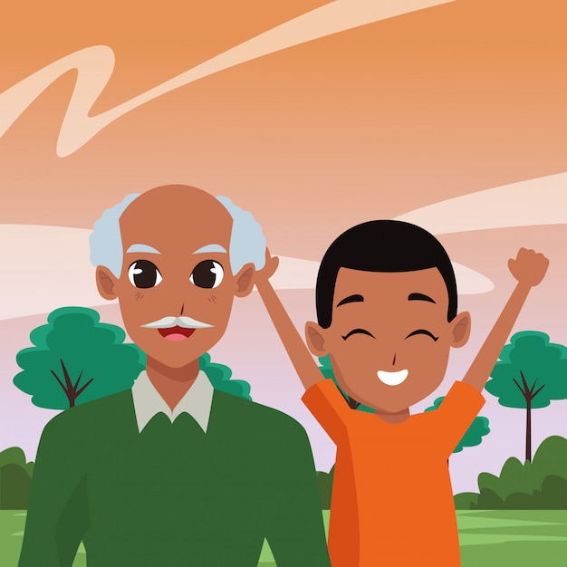 Family grandparent and children cartoons Premium Vector