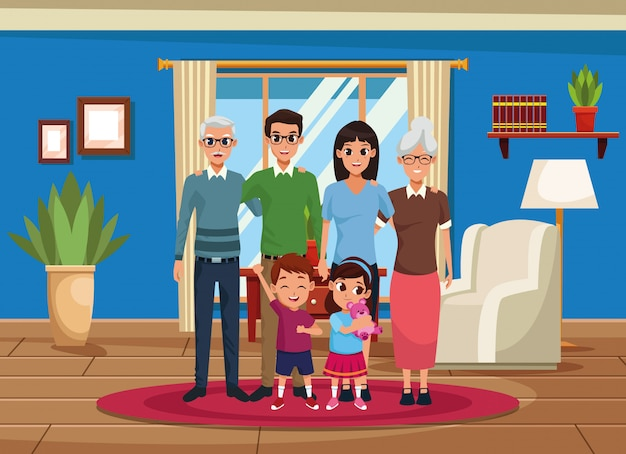 Family grandparents, parents and kids cartoons Free Vector