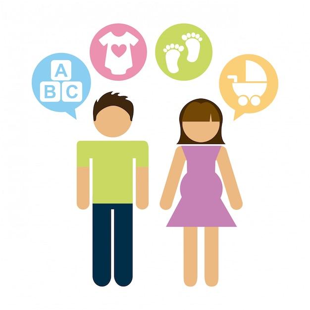 Family graphic design  vector illustration Premium Vector