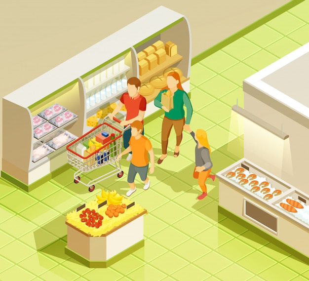 Family grocery shopping supermarket isometric view Free Vector
