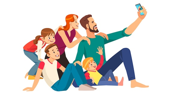 Family, happiness, generation and people concept Premium Vector