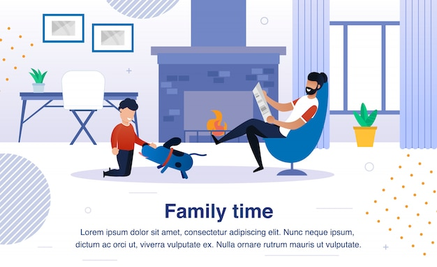 Family happy time flat  banner, poster Premium Vector