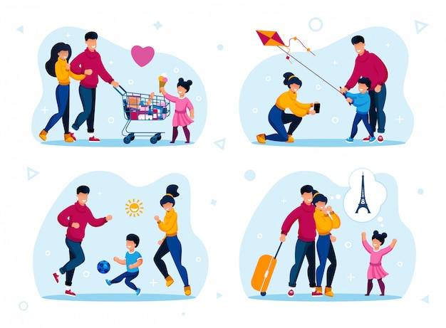 Family happy time recreation flat set Premium Vector