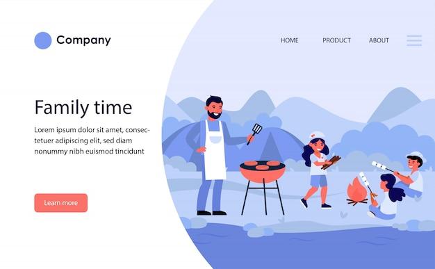 Famiglia che ha picnic con barbecue in riva al fiume. modello di sito web o pagina di destinazione Vettore gratuito