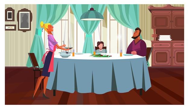 Family having dinner at home illustration Free Vector