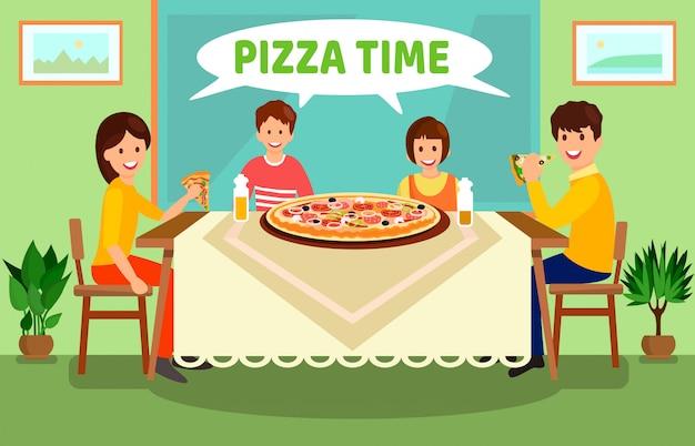 Family having dinner at home vector illustration Premium Vector